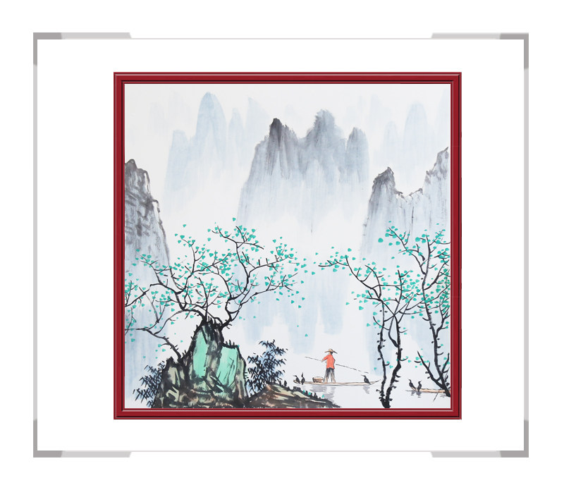 中国美协会员李任孚老师-山水斗方画第二款