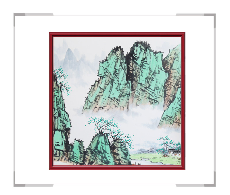 中国美协会员李任孚老师-山水斗方画作品三