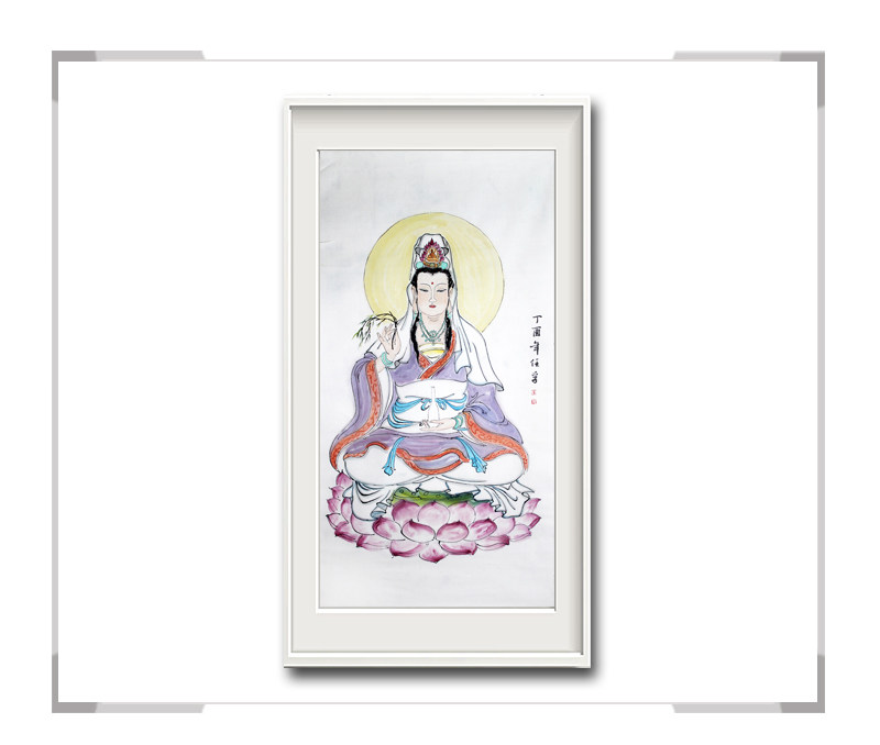中国美术家协会会员李任孚-竖幅人物画菩萨一