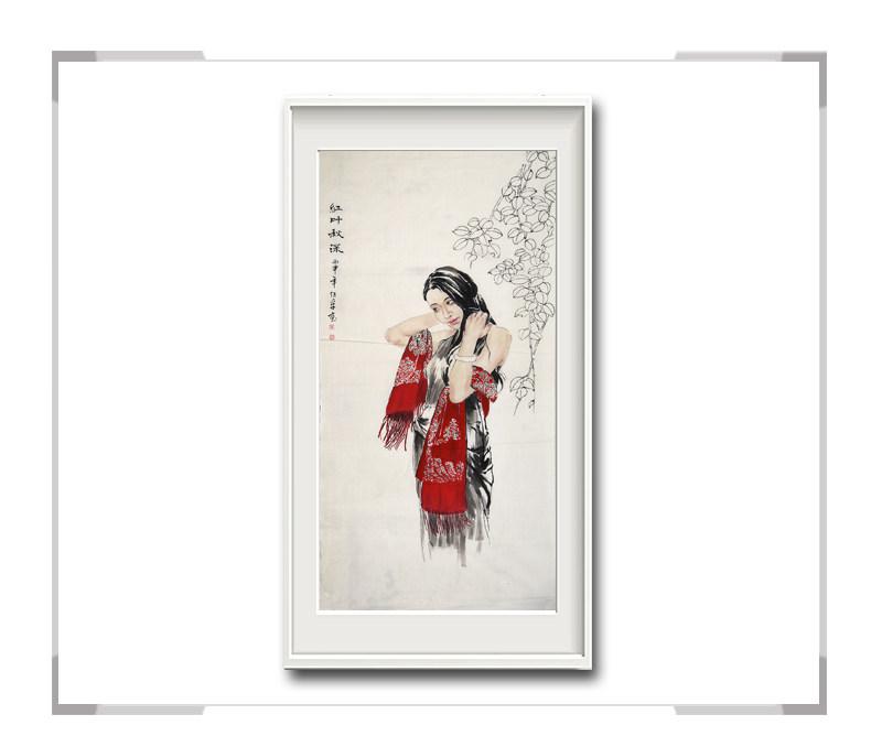 中国美术家协会会员李仁孚-竖幅时尚美女画一红叶秋深