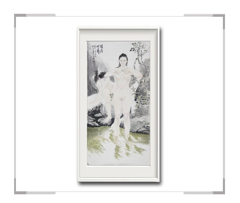 中国美术家协会会员李任孚-竖幅美人画作品一