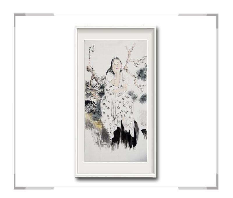 中国美术家协会会员李任孚作品-竖幅美人画第一款