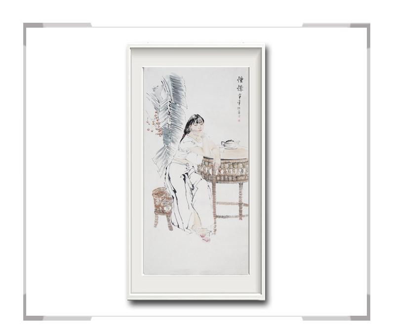 中国美术家协会会员李任孚作品-竖幅美人画第二款