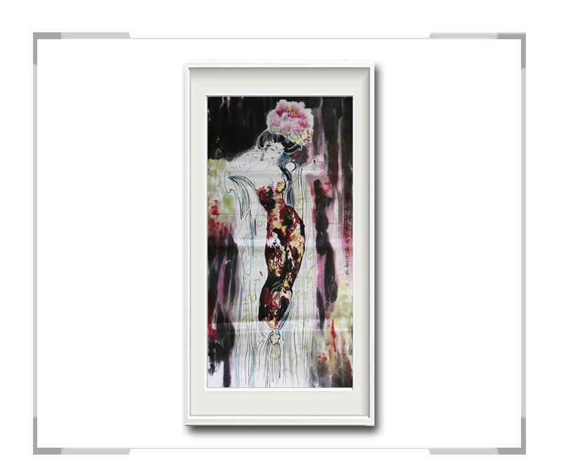 中国美术家协会会员李任孚作品-竖幅美人画之贵妃一