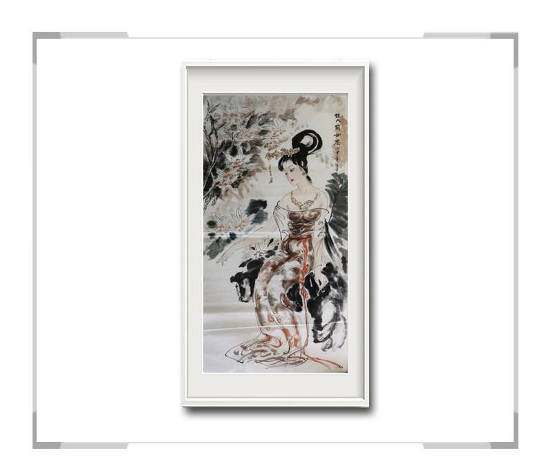 中国美术家协会会员李任孚作品-竖幅美人画之贵妃二