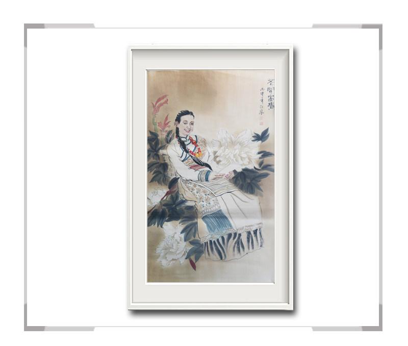 中国美术家协会会员李任孚-美人画作品竖幅第一款