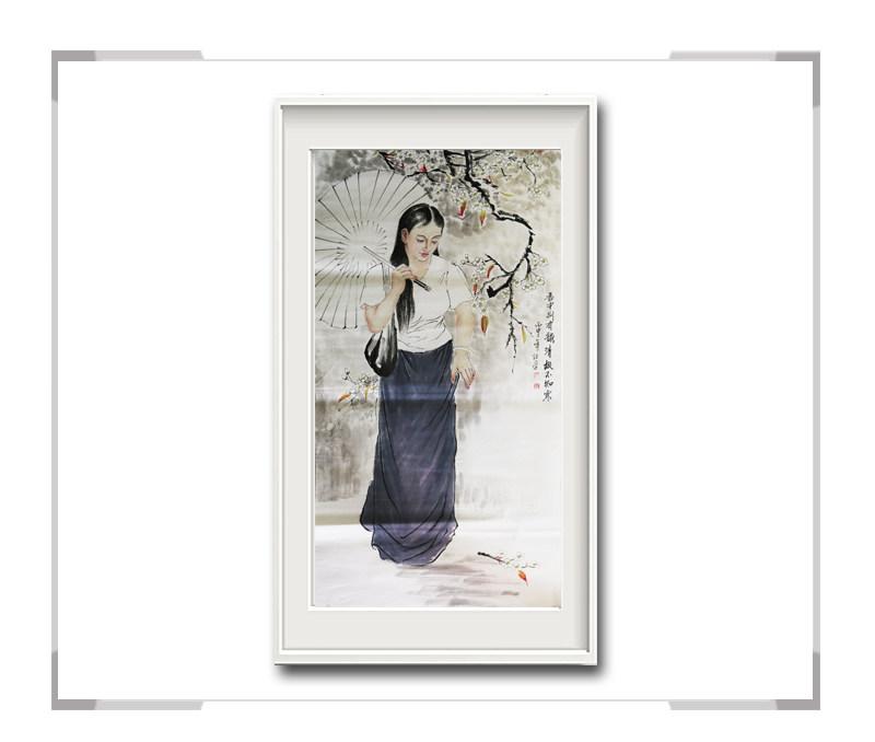 中国美术家协会会员李任孚-美人画作品竖幅第二款
