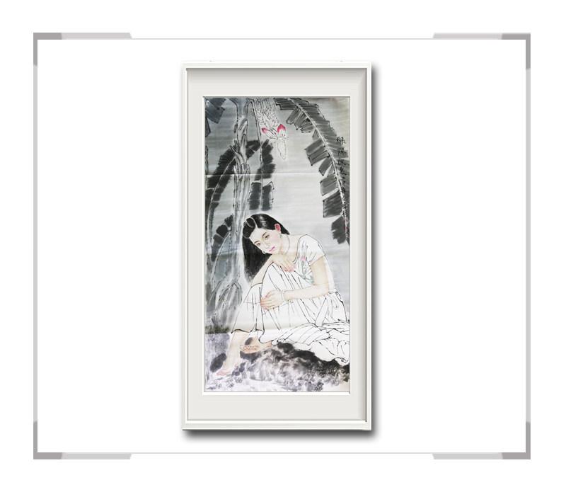 中国美术家协会会员李任孚作品-竖幅现代美人画一