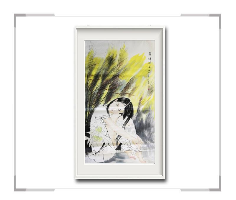 中国美术家协会会员李任孚作品-竖幅现代美人画二