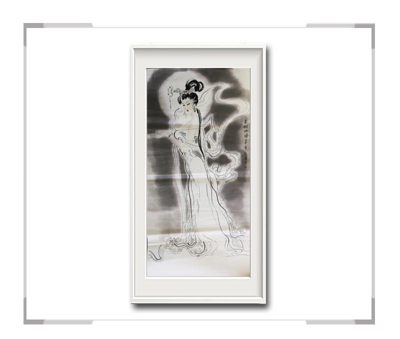 中国美术家协会会员李任孚-竖幅美人画第一款