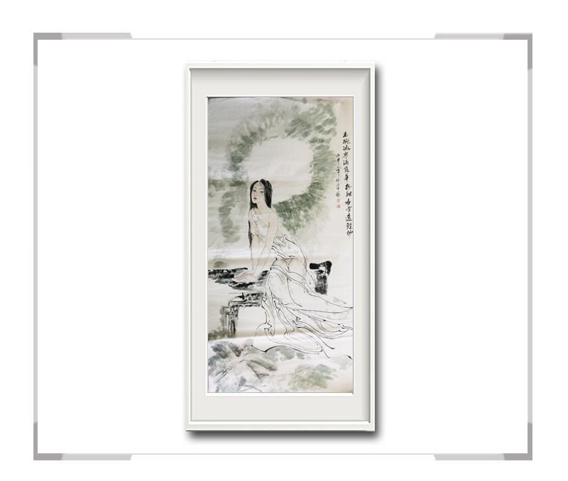中国美术家协会会员李任孚-竖幅美人画第二款