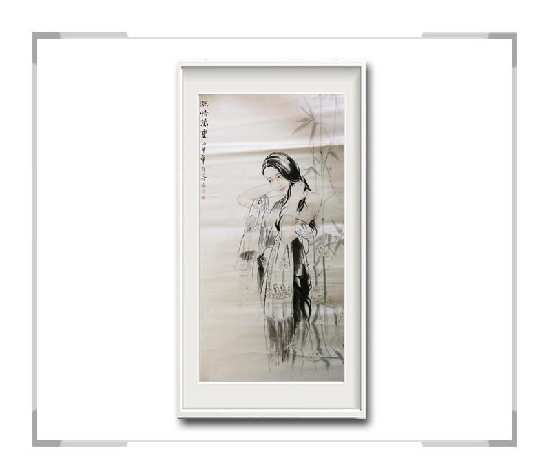 中国美术家协会会员李任孚-竖幅现代美人画第一款深情