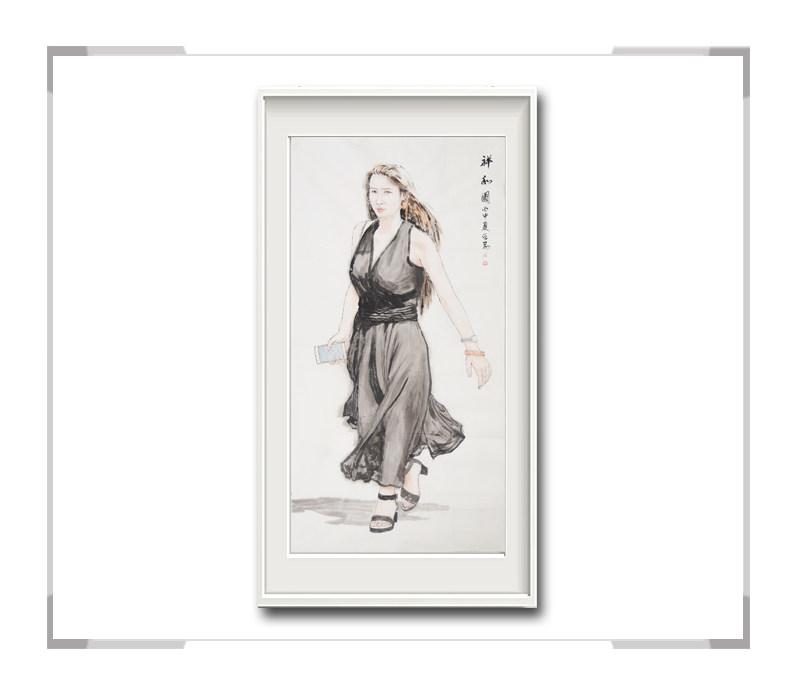 中国美术家协会会员李仁孚-竖幅时尚美女画二祥和图