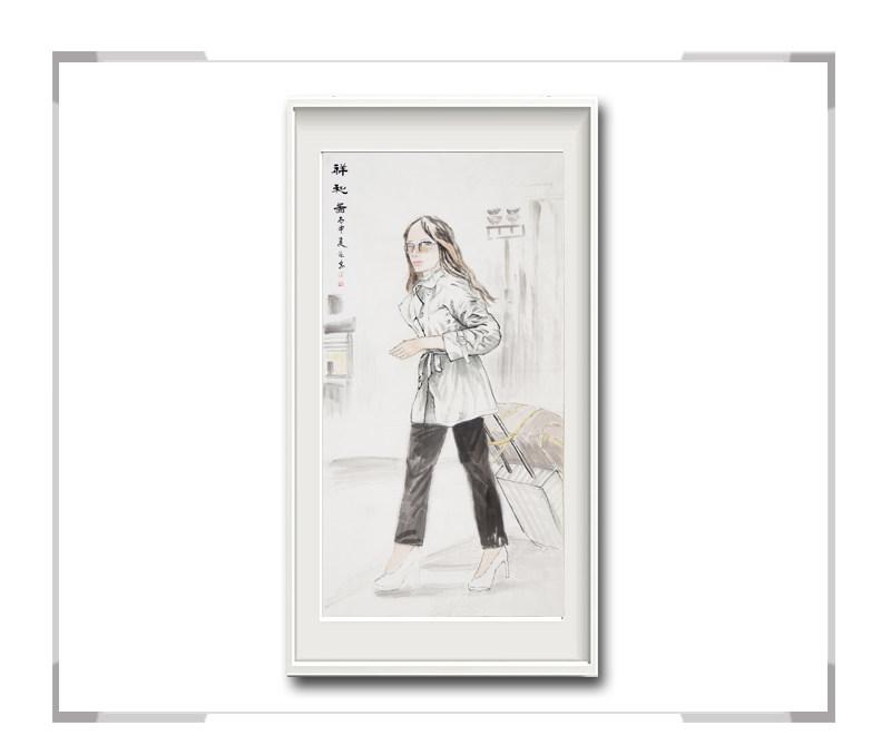 中国美术家协会会员李仁孚-竖幅现代美女画第一款