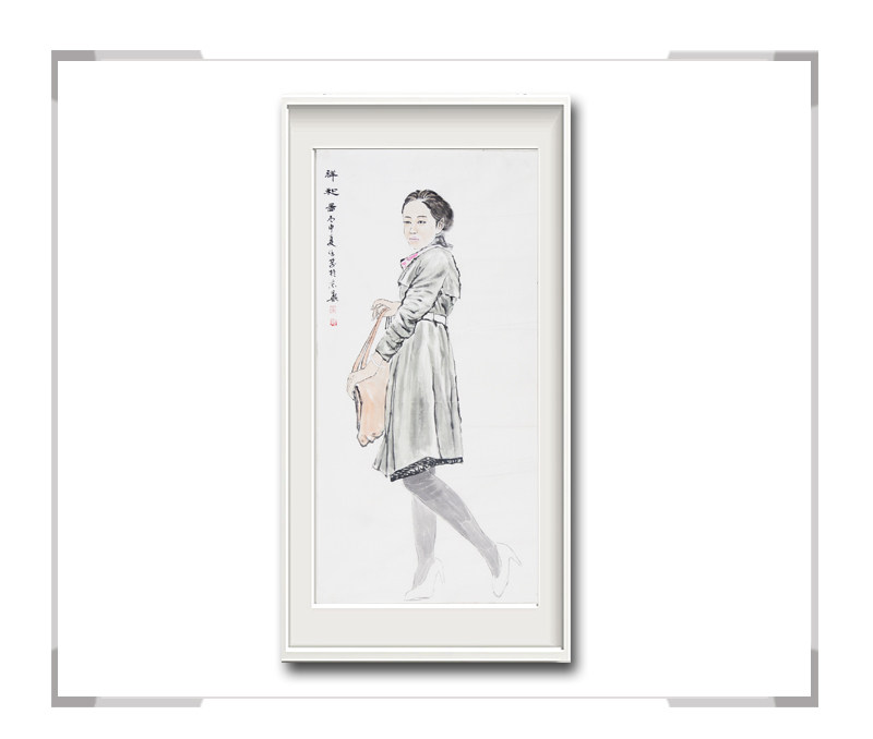 中国美术家协会会员李仁孚-竖幅现代美女画第二款