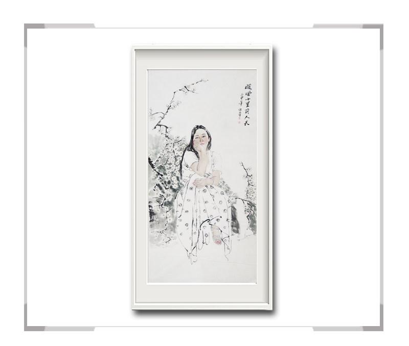中国美术家协会会员李仁孚-竖幅现代时尚美女画一暖风