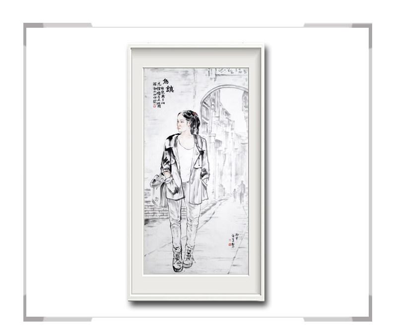中国美术家协会会员李仁孚-竖幅现代时尚美女画二乌镇