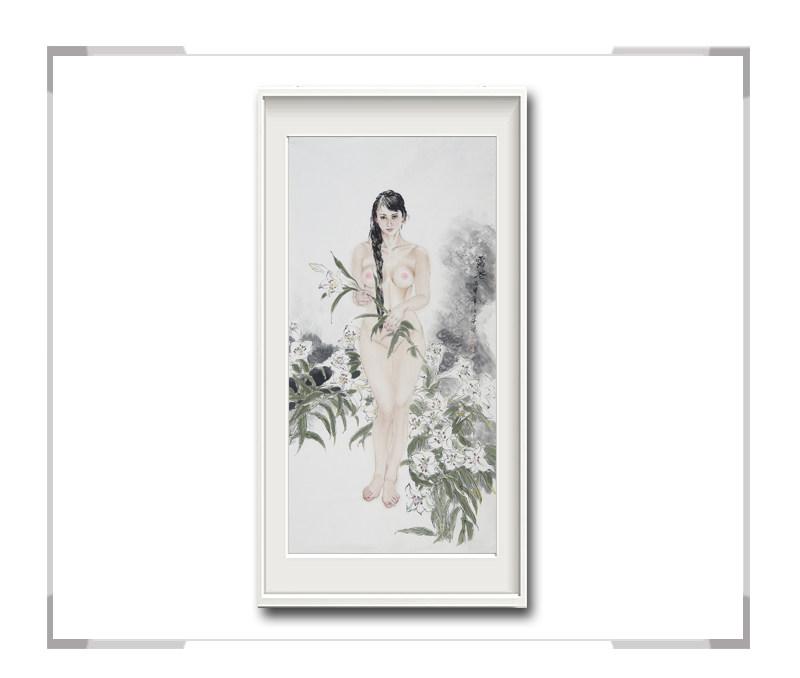 中国美术家协会会员李任孚-竖幅现代美人画作品二
