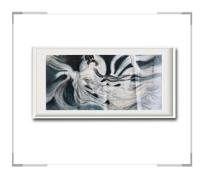 中国美术家协会会员李任孚-横幅美人画作品一奔月