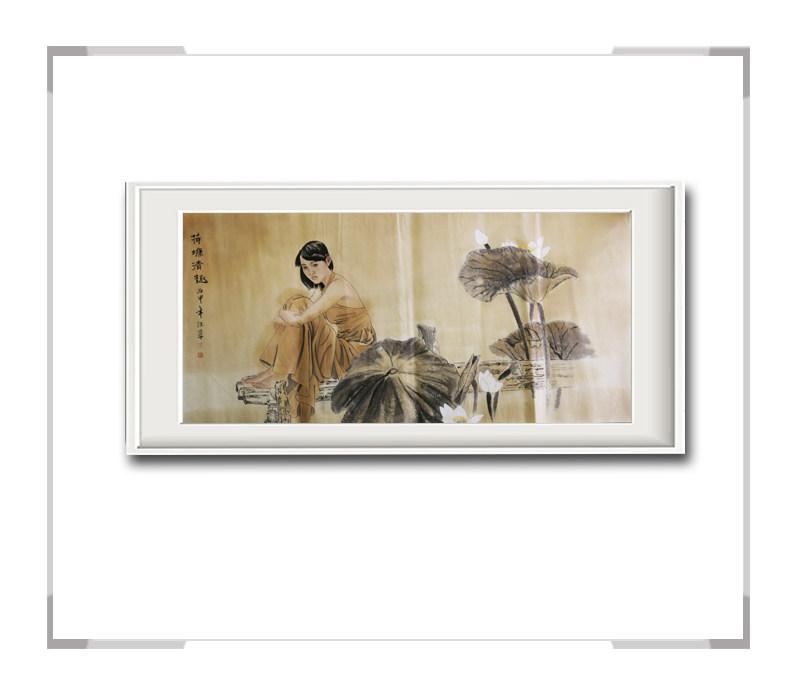 中国美术家协会会员李任孚-横幅美人画作品二荷塘