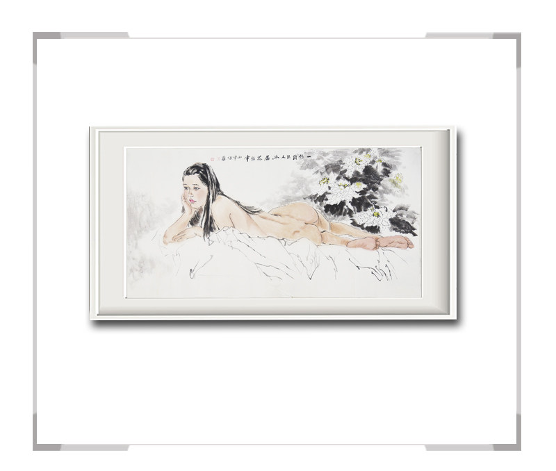 中国美术家协会会员李任孚作品-人物画横幅美人一佳人