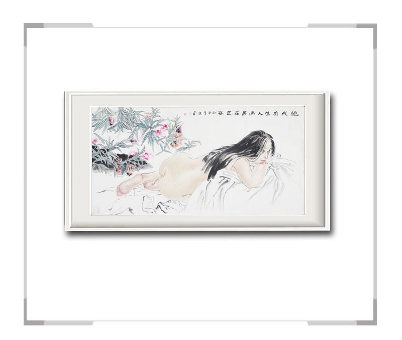 中国美术家协会会员李任孚作品-人物画横幅美人二绝代佳人