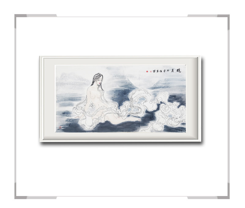 中国美术家协会会员李任孚作品-人物画横幅美人三揽月