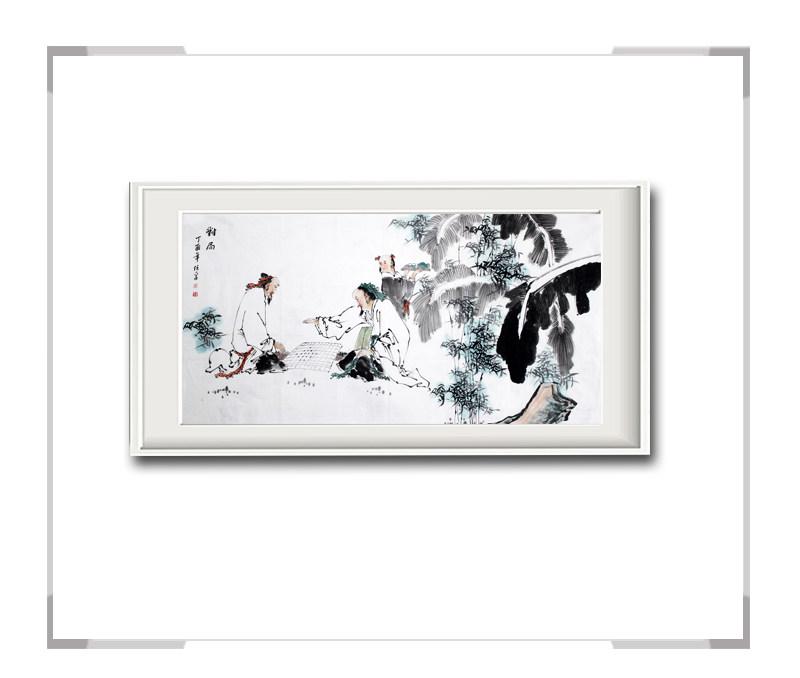中国美术家协会会员李任孚作品-横幅人物画之二茶韵