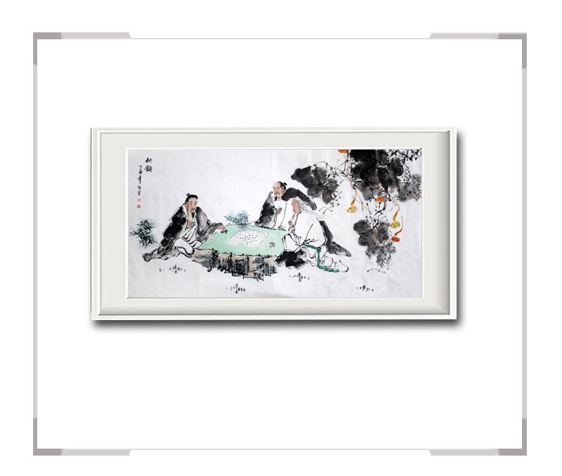 中国美术家协会会员李任孚作品-横幅人物画之三对局