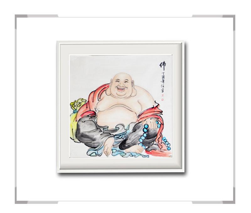 中国美术家协会会员李任孚作品-斗方人物画佛一