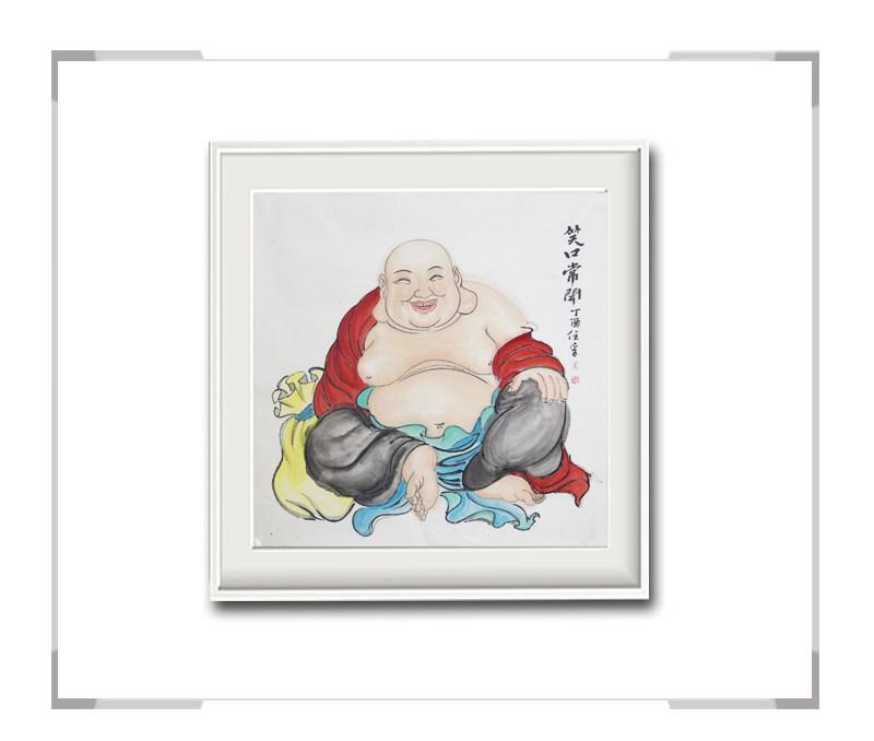 中国美术家协会会员李任孚作品-斗方人物画佛三