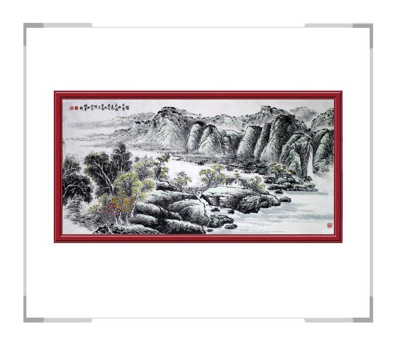 河北美术家协会会员李宗明-横幅山水画作品一碧水青山