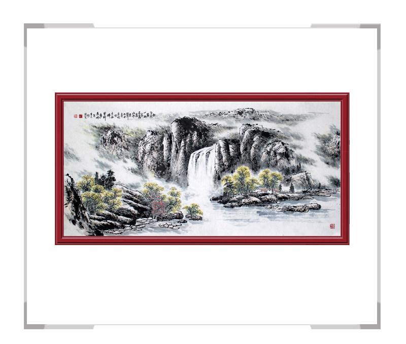 河北美术家协会会员画家李宗明-横幅山水画作品一秋深叶黄