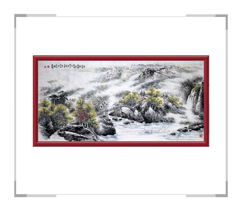 河北美术家协会会员画家李宗明-横幅山水画作品三深山有桥