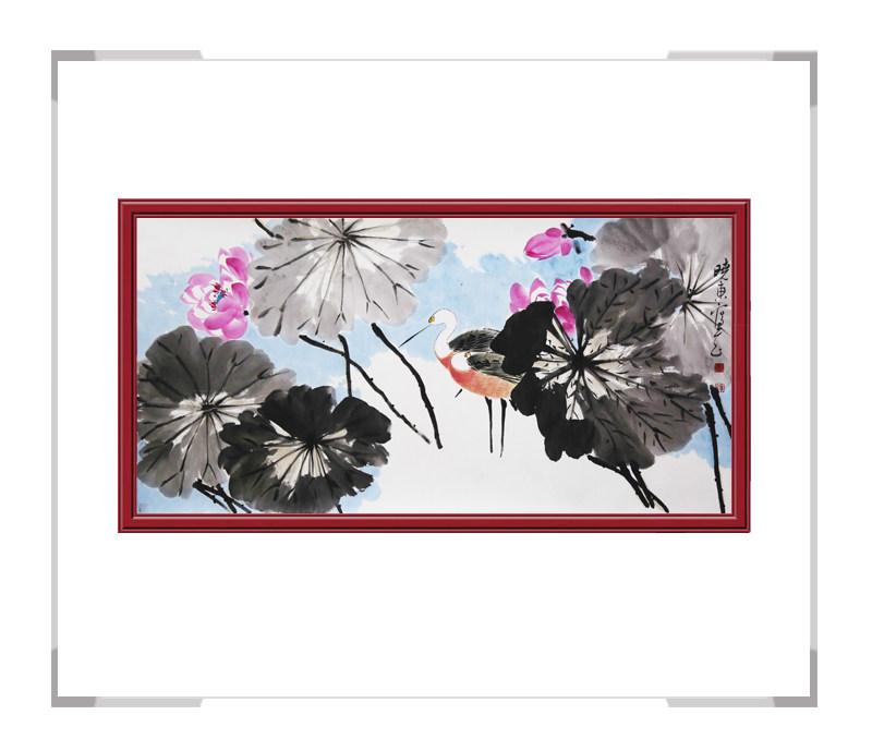 中国美术家协会会员刘晓东-横幅花鸟画荷花一