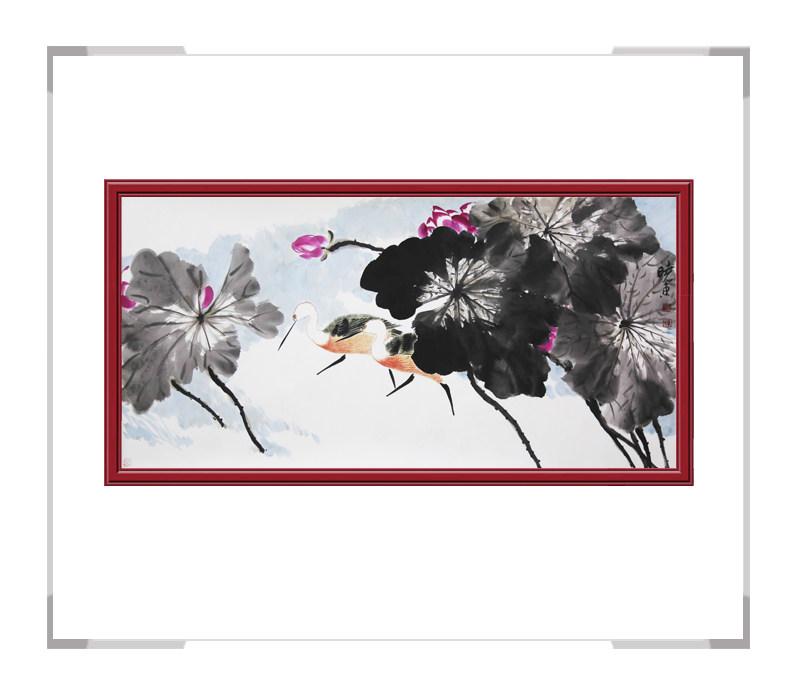 中国美术家协会会员刘晓东-横幅花鸟画荷花二