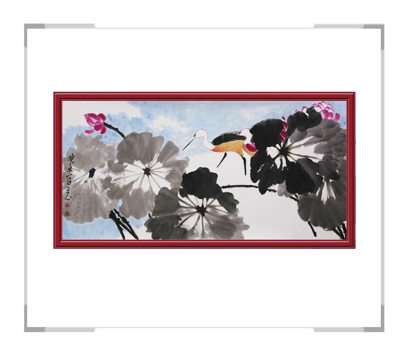 中国美术家协会会员刘晓东-横幅花鸟画荷花三