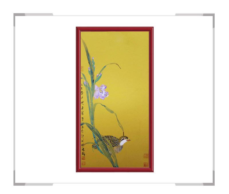 中国美术家协会画家刘晓东-竖幅花鸟画第一款