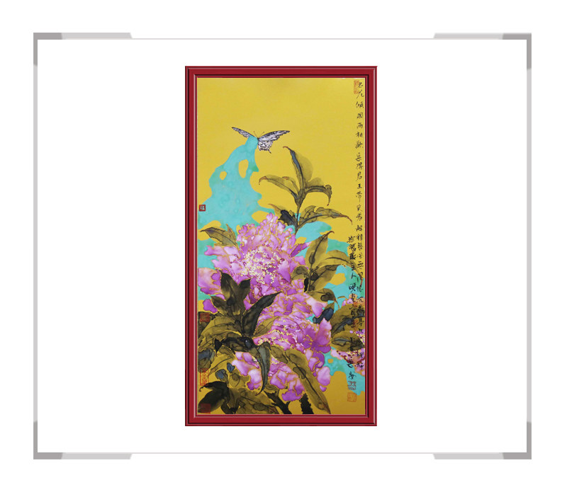 中国美术家协会会员画家刘晓东-竖幅花鸟画作品二