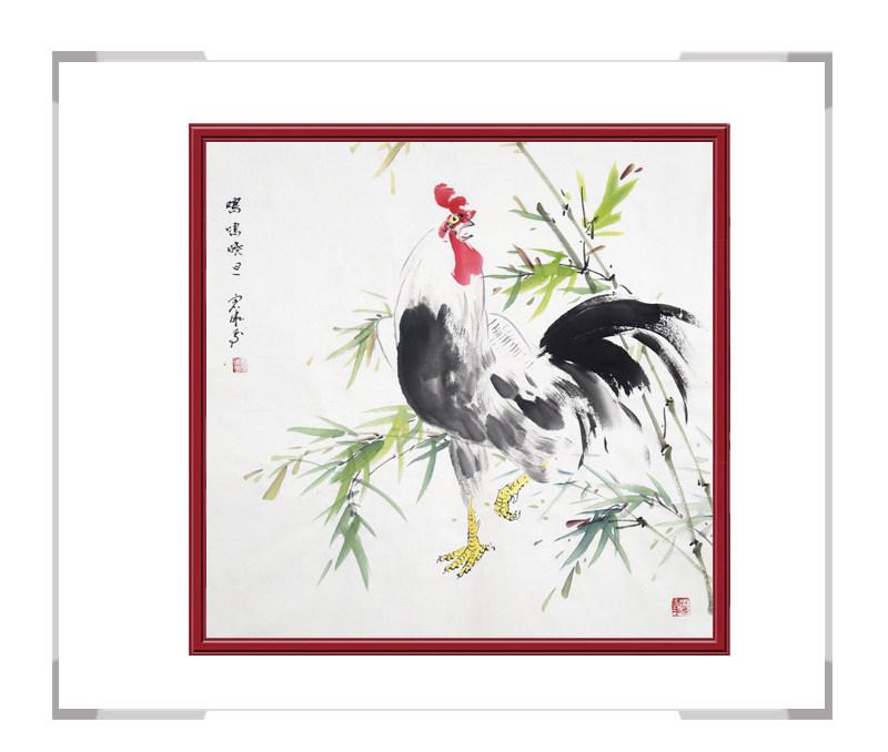 中国工笔画学会会员刘宗伟-斗方花鸟画公鸡之一
