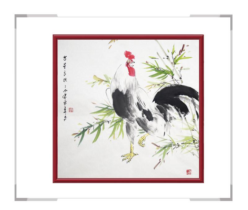 中国工笔画学会会员刘宗伟-斗方花鸟画公鸡之二