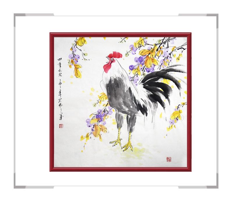 中国工笔画学会会员刘宗伟-斗方花鸟画公鸡之三
