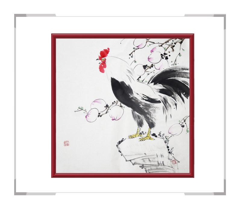 中国工笔画学会会员刘宗伟作品-斗方花鸟画公鸡之一