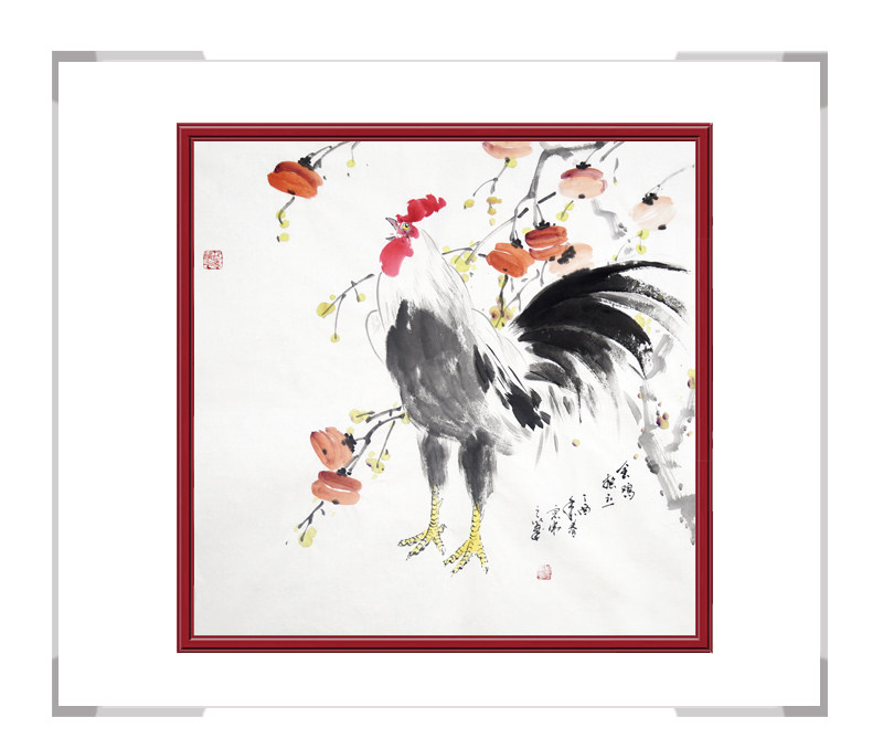 中国工笔画学会会员刘宗伟作品-斗方花鸟画公鸡之二