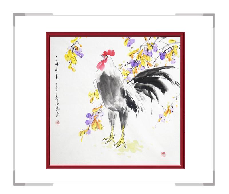中国工笔画学会会员刘宗伟作品-斗方花鸟画公鸡之三