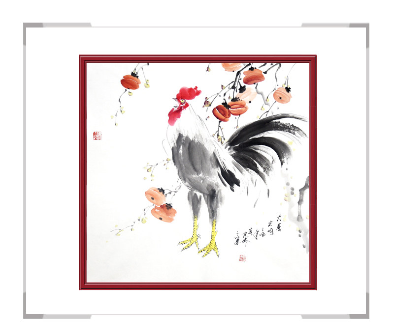 中国工笔画学会会员刘宗伟-花鸟画斗方公鸡第一款