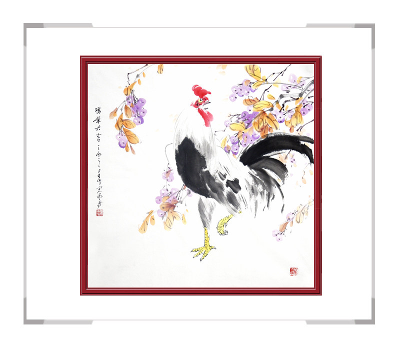 中国工笔画学会会员刘宗伟-花鸟画斗方公鸡第二款