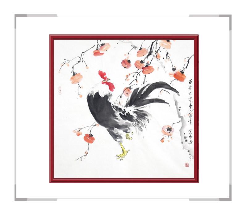 中国工笔画学会会员刘宗伟-花鸟画斗方公鸡第三款