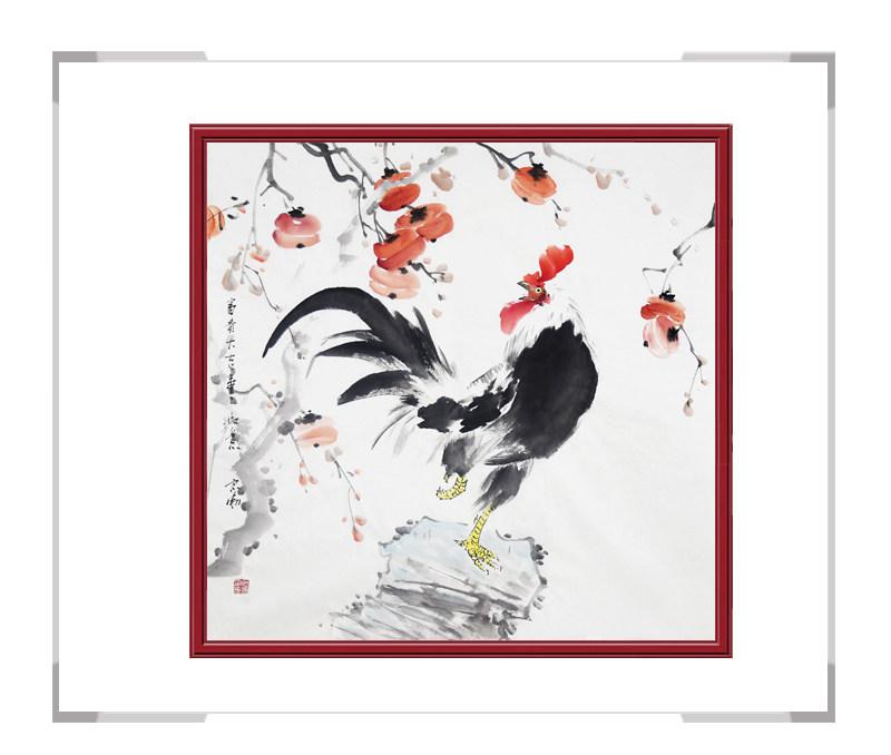中国工笔画学会会员刘宗伟作品-花鸟画斗方公鸡一