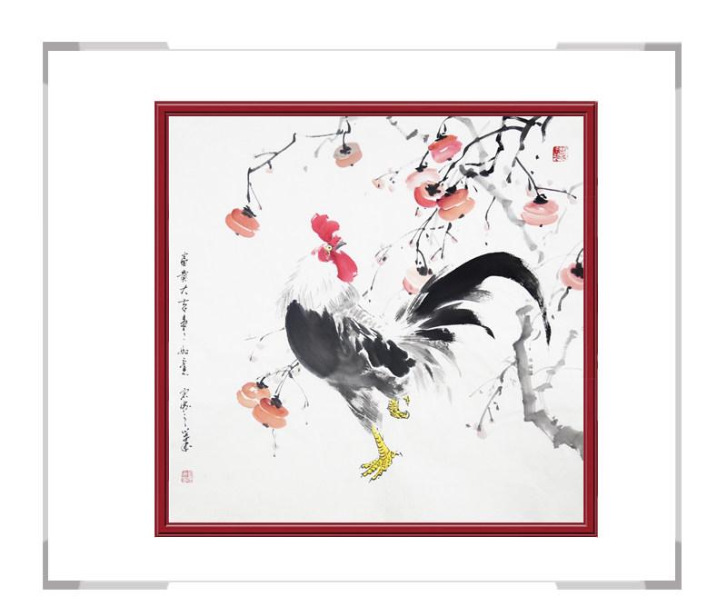 中国工笔画学会会员刘宗伟作品-花鸟画斗方公鸡二